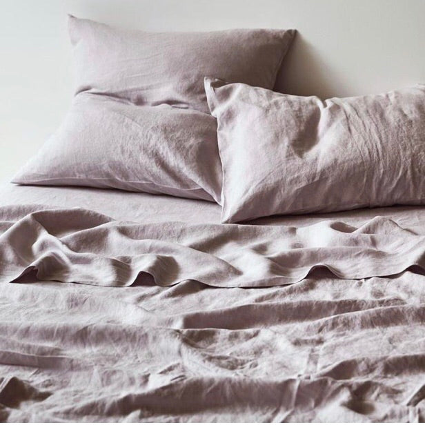 Linen fitted sheet lilac - Adult Bedding - $175 |The Home Maven