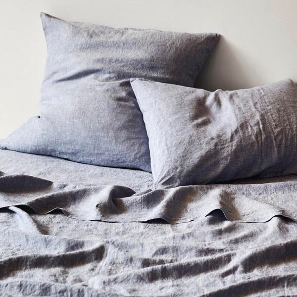 Linen Fitted Sheet Chambray | Adult Bedding | $175-$185 | The Home Maven