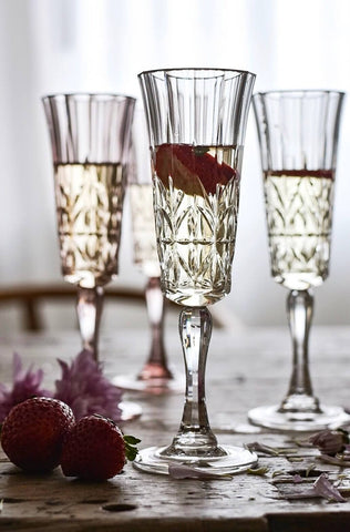 indigo love champagne flute clear acrylic | The Home Maven
