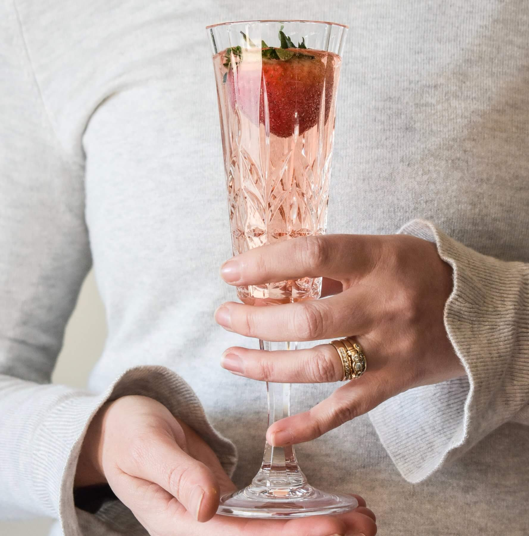 indigo love champagne flute pale pink acrylic | The Home Maven
