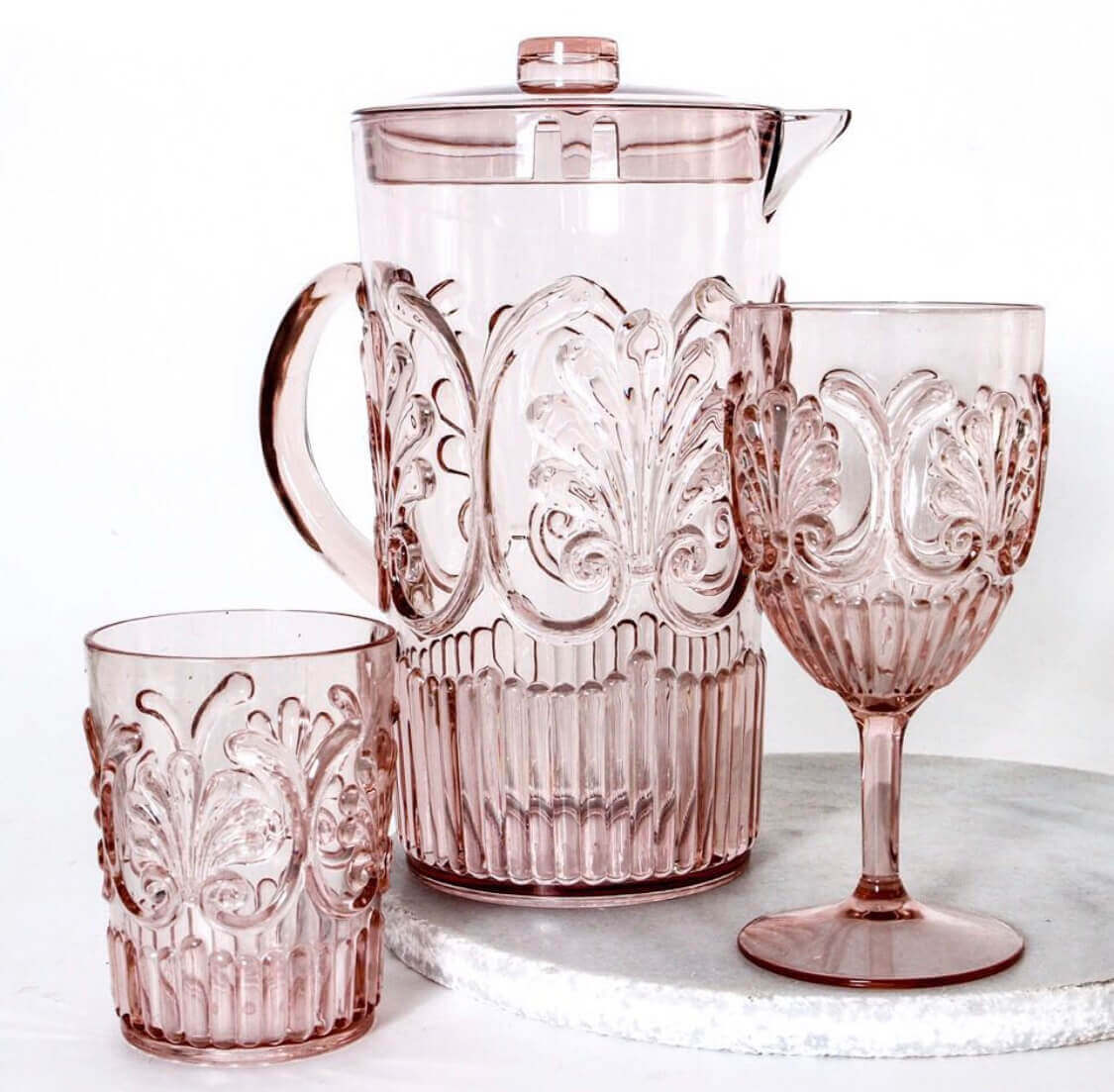 indigo love flemington wine glass jug tumbler acrylic pale pink |The Home Maven