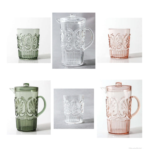 indigo love flemington acrylic jug tumblers pale pink green clear |The Home Maven