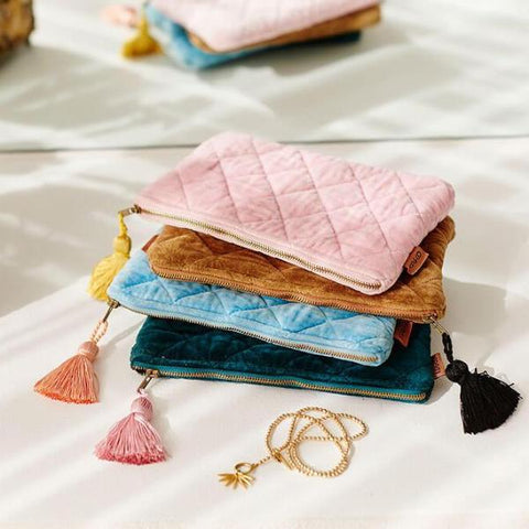Kip and co Alpine green Aquamarine Guava pink velvet quilted cosmetics purse | $35 | The Home Maven