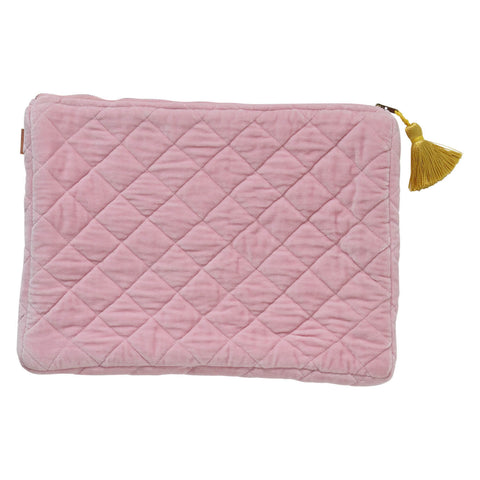 Kip and co guava pink velvet quilted laptop carry all | $59 | My House Loves