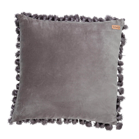Kip and co velvet tassel storm grey cushion cover - The Home Maven