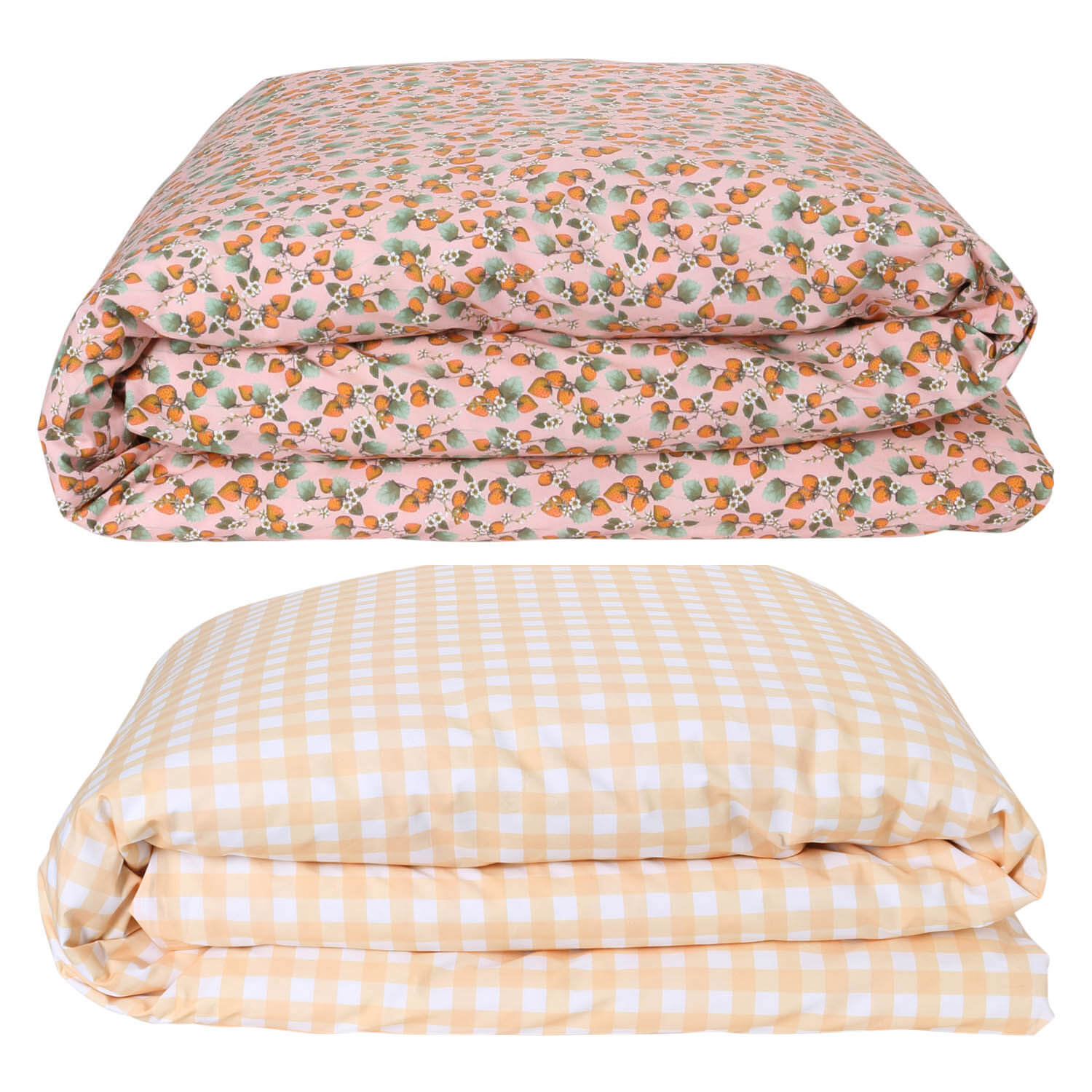 Kip and co the patch peach reversible gingham quilt cover | My House Loves