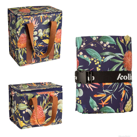 Kollab cooler bag picnic mat lunch bag native floral |The Home Maven