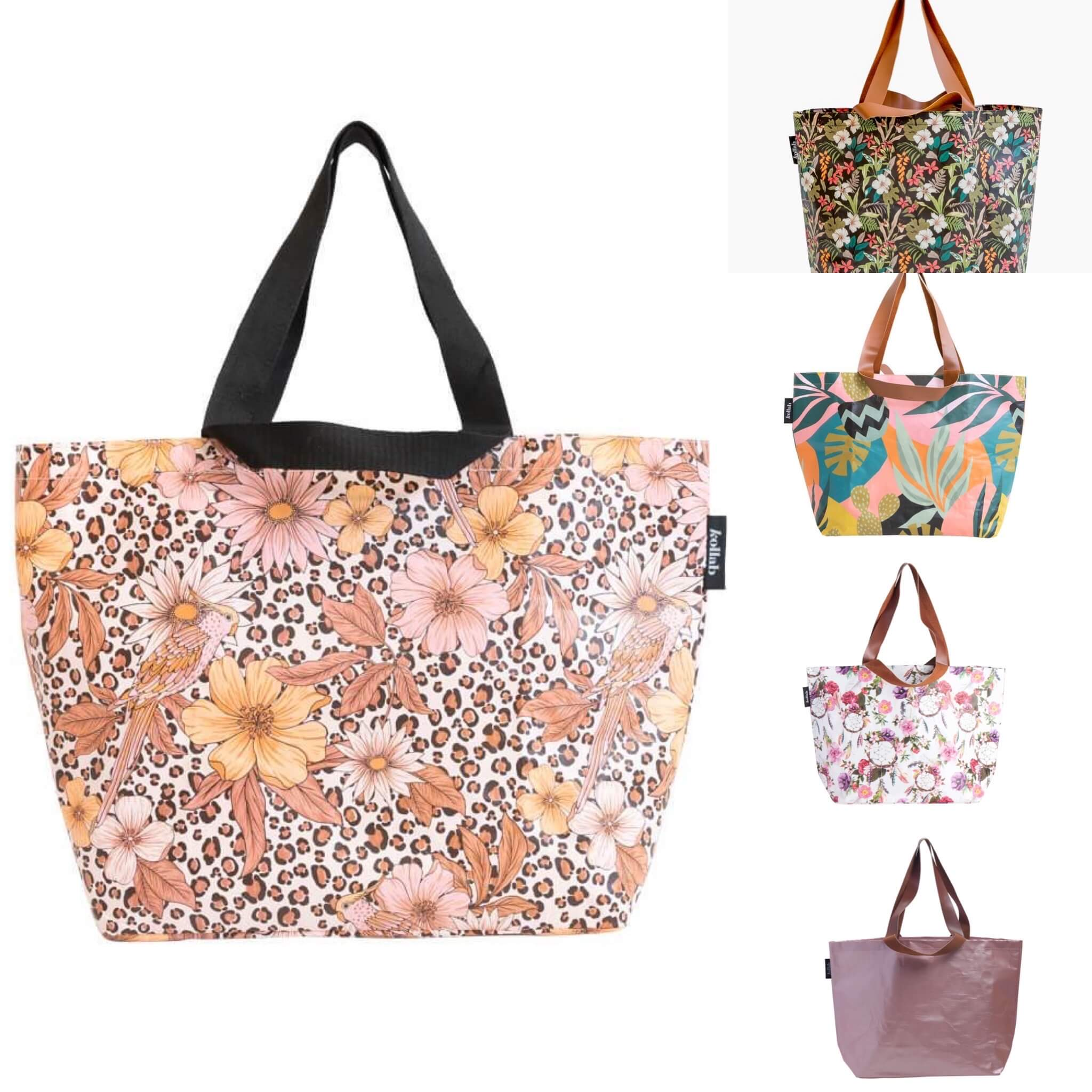 kollab shopper tote boho monstera cactus hibiscus leopard floral rose gold | The Home Maven