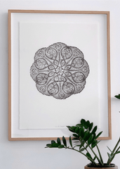 Lumiere and co Mandala | Black Flower | Oak framed |The Home Maven