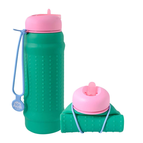 Rolla bottle green pink lid dusty blue strap rolled tall |The Home Maven