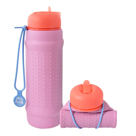Rolla bottle pink lilac coral lid dusty blue strap rolled tall |The Home Maven