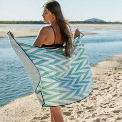 Sky gazer beach towel sand free noosa mint design | The Home Maven