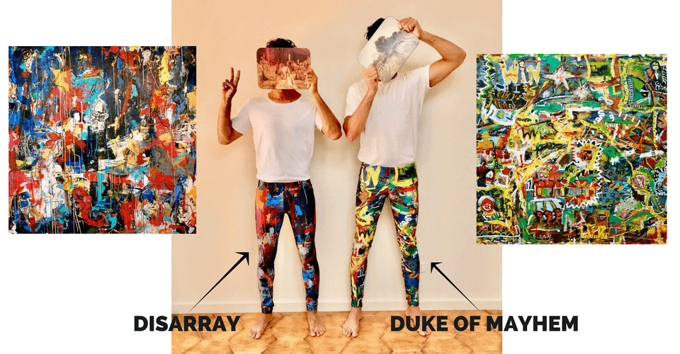 kapow founders wearing disarray and duke of mayhem meggings