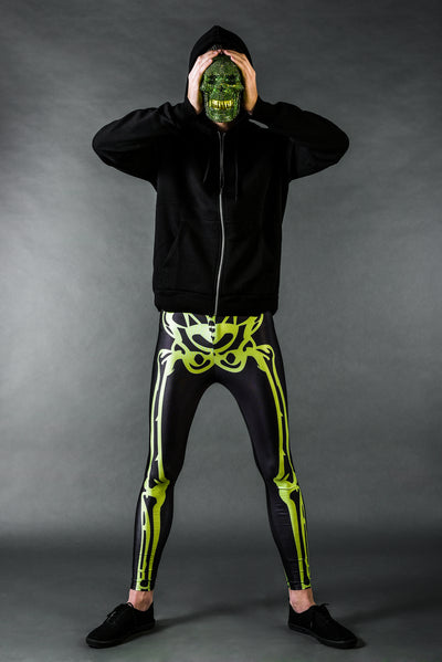 Maskemann in Neon Skelett Männer Leggings