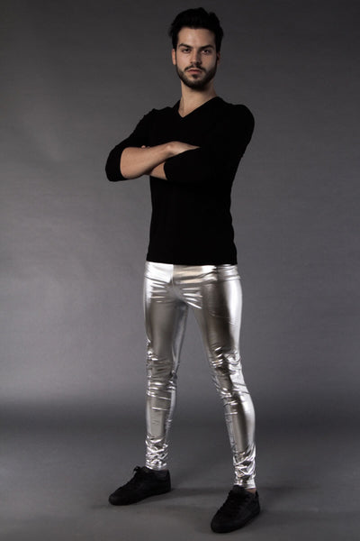 Silberne Männer Leggings in Metallic Look