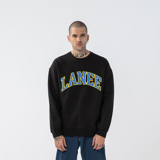 Lanee Clothing Streetwear COLLEGE BLACK CREWNECK LOOSE-FIT 21