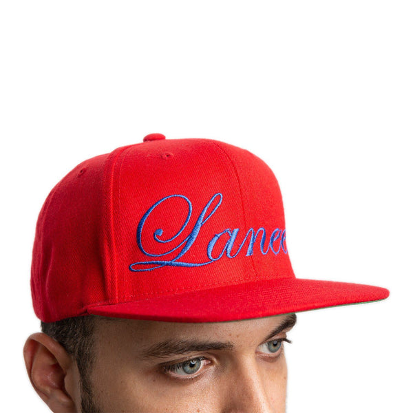 CALLIGRAPHY RED SNAPBACK HAT