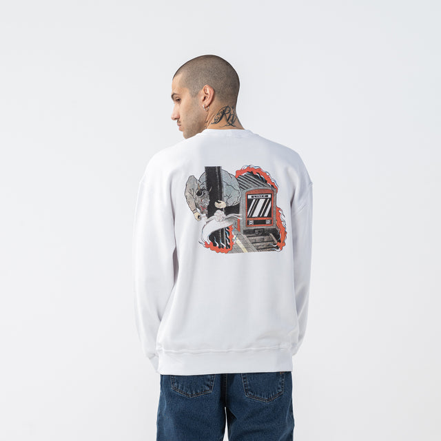 Lanee Clothing Streetwear TRASHTALKER WHITE CREWNECK LOOSE-FIT 21