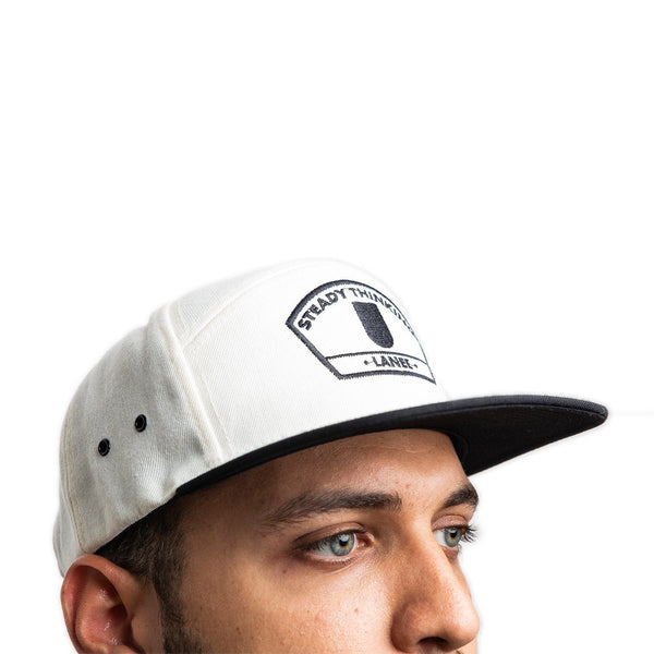 Lanee Clothing Streetwear STEADY THINKING WHITE 6-PANEL SNAPBACK HAT