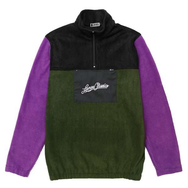 Lanee Clothing Streetwear PURPLE-BLK-GRN HALF-ZIP FLEECE 21