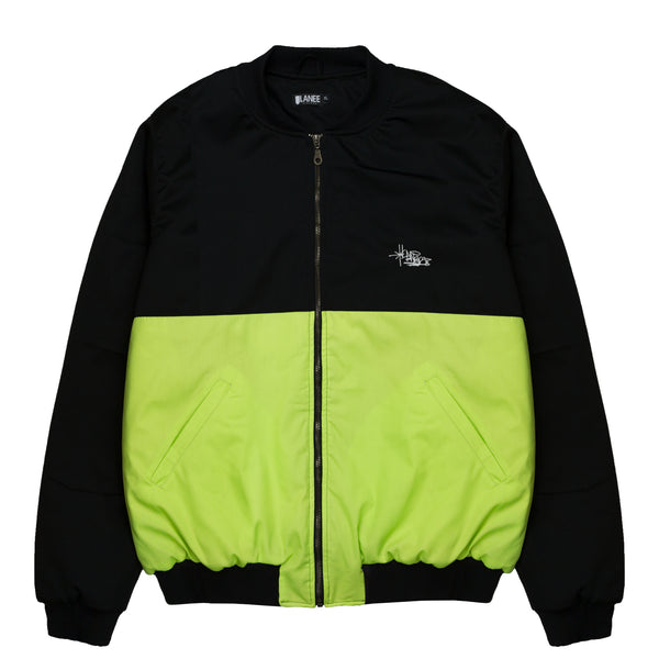 Lanee Clothing Streetwear BLACK/LIME BOMBER JACKET 21
