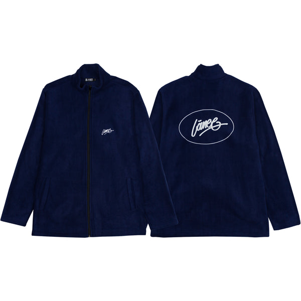 Lanee Clothing Streetwear OVAL D.BLUE FULL-ZIP FLEECE