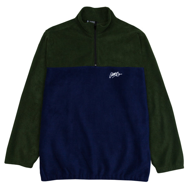 Lanee Clothing Streetwear GREEN-D.BLUE HALF-ZIP FLEECE