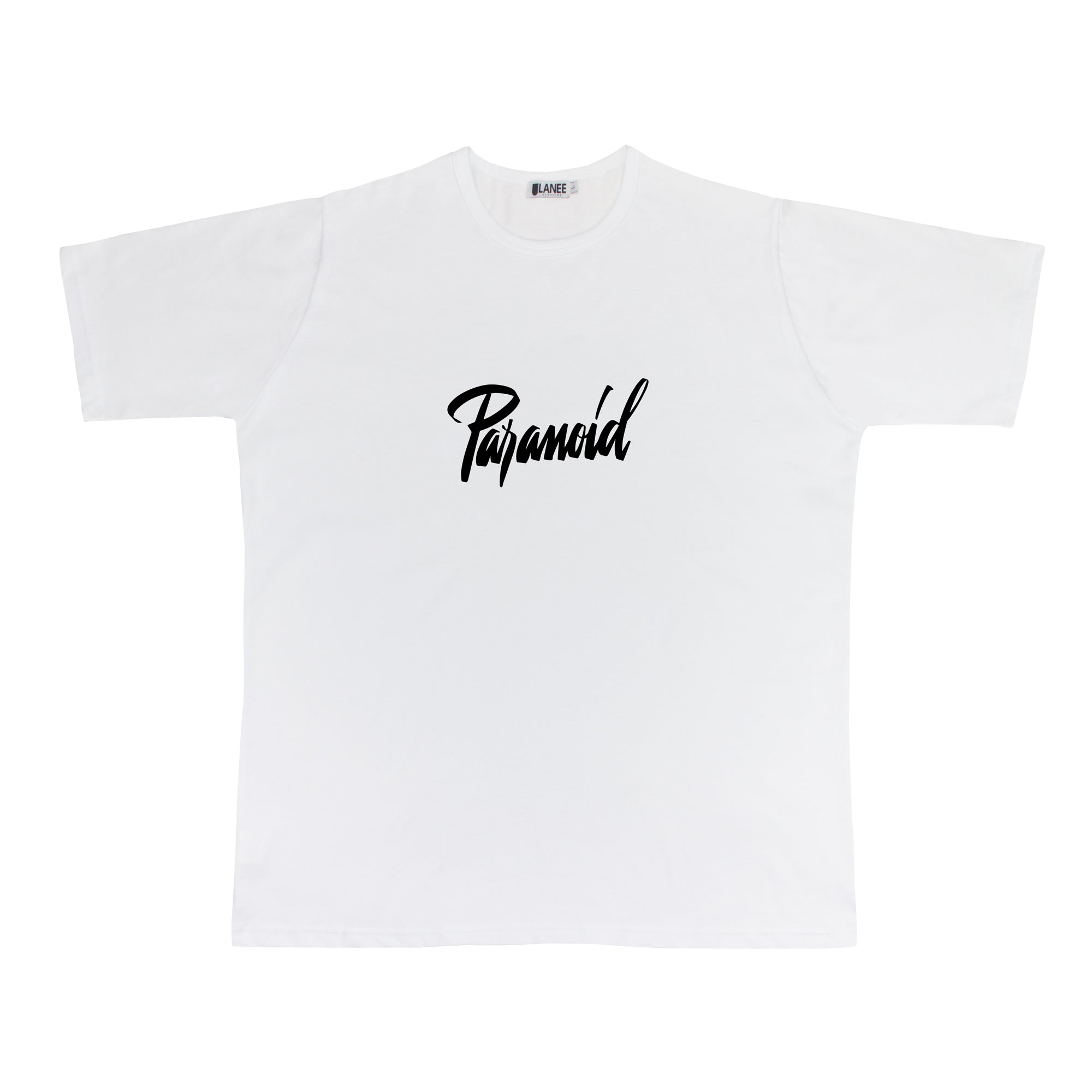 56ef250aa0c3 PARANOID WHITE/BLACK TEE - Lanee Clothing - Streetwear made in Greece