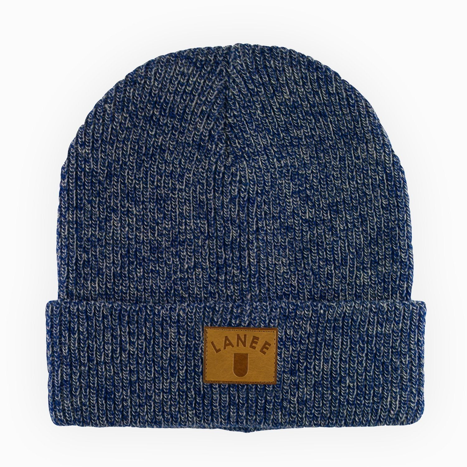 Headwear - CHARCOAL-BLUE LEATHER BEANIE