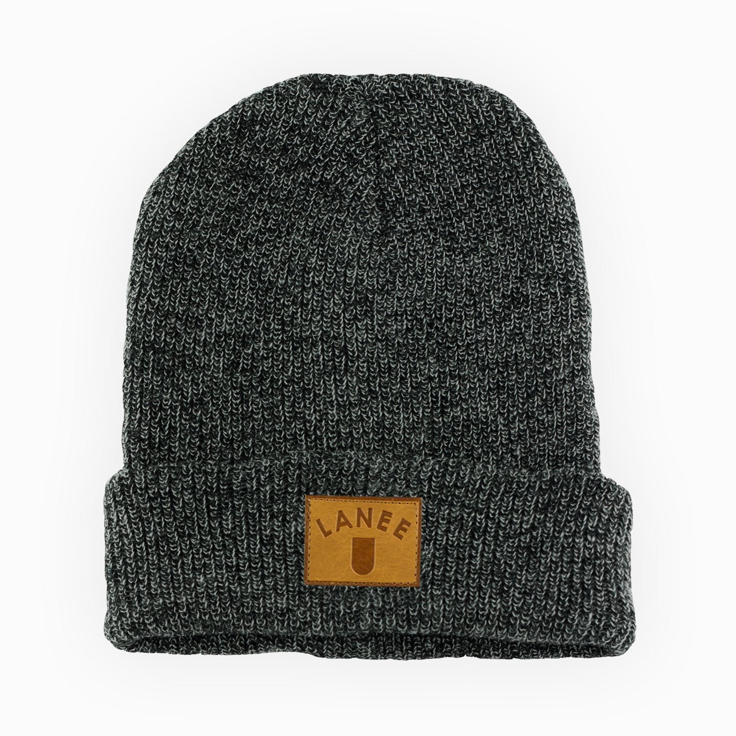 Headwear - CHARCOAL LEATHER BEANIE