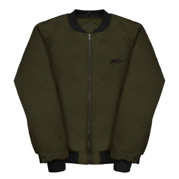 Jackets - D.OLIVE-BLACK BOMBER JACKET