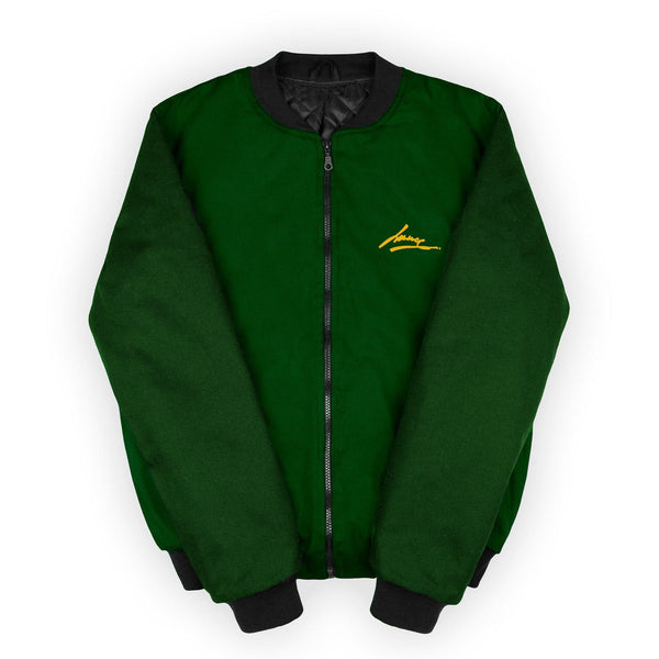 Jackets - DARK GREEN-DARK GREY BOMBER JACKET