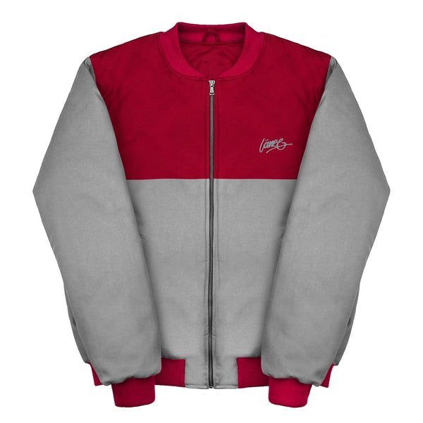 Lanee Clothing Streetwear MAROON-GREY BOMBER JACKET