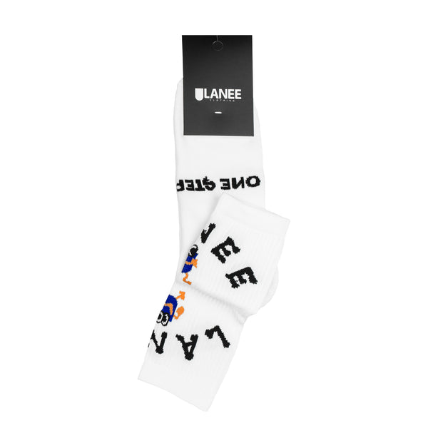 Lanee Clothing Streetwear ONE STEP AT A TIME WHITE SOCKS