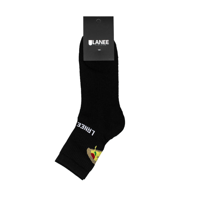 Lanee Clothing Streetwear LANEExSIEMOR PIZZA BLACK SOCKS