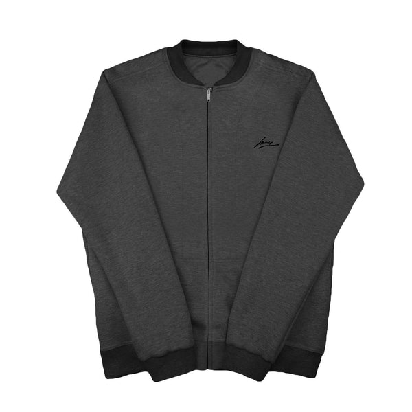 SWEAT - D.GRAY-BLK CREWNECK JACKET