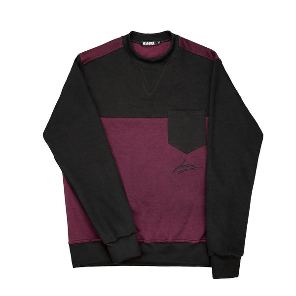 SWEAT - POCKET CRIMSON-BLK CREWNECK