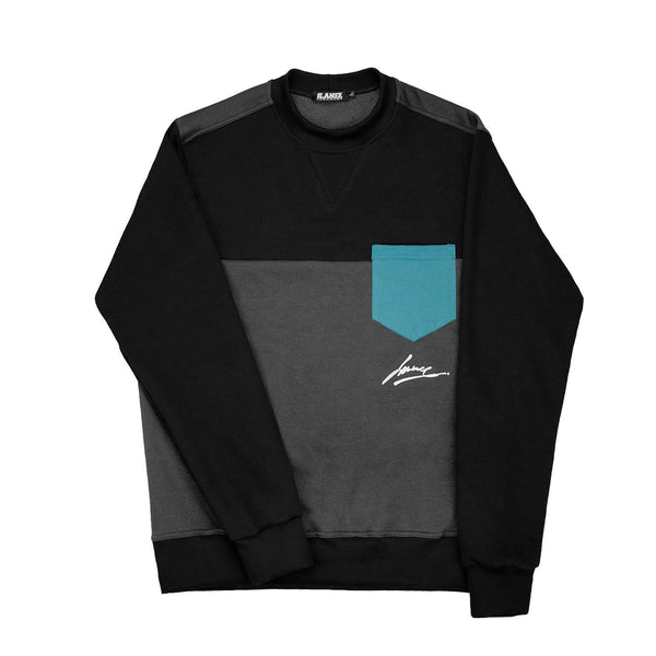 SWEAT - POCKET DARKGRAY-BLK CREWNECK