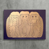 3 Monkeys (Gold/Aubergine)