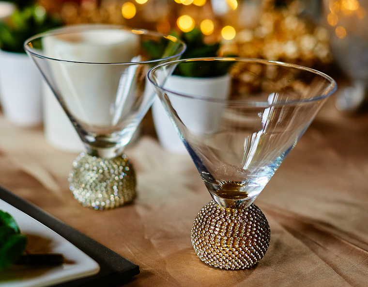 Jewelled Cocktail Glass's Gift Boxed set of 2 (Gold)