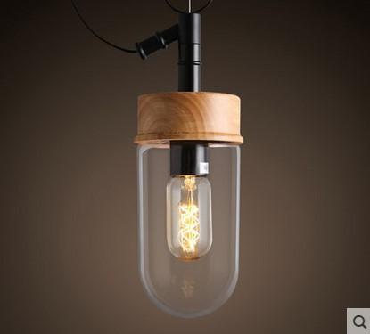 Glass and wood pendant with Edison bulb