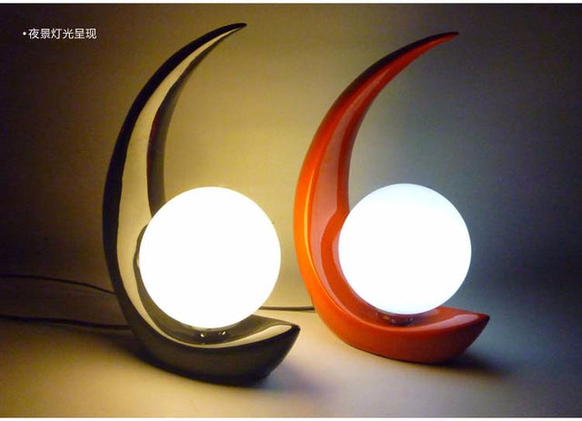 Resin moon table lamp