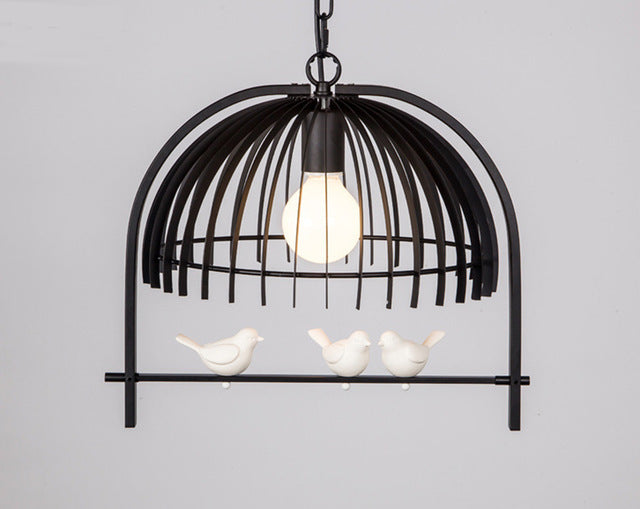 White Iron birdcage and birds pendant LED light