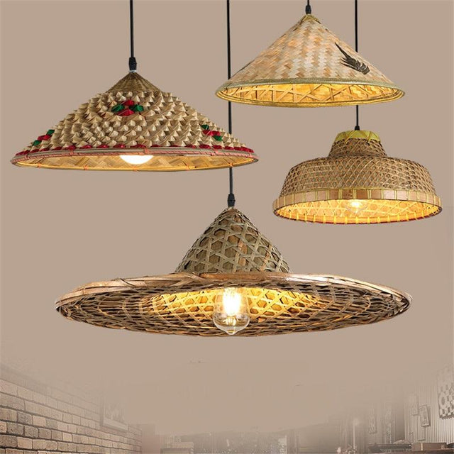 Bamboo chinese hat pendant light
