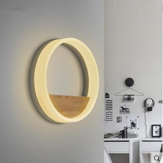 Modern Wall lamp with circular light and wooden shelf