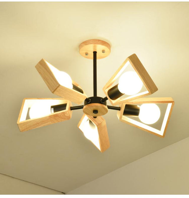 Wooden fan pendant light