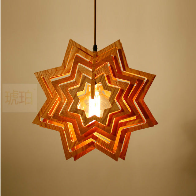 wooden stars pendant light