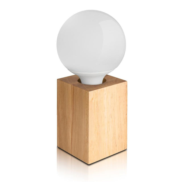 Wood block table lamp