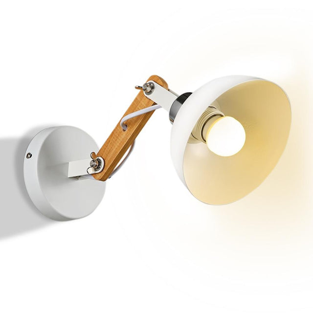 White metal and wood modern wall light
