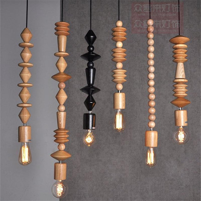 Wooden beads pendant lights